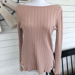 Blush Pink Sparkle Ribbed Sweater w Button Sides